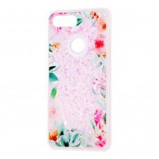 """Чехол для Xiaomi Mi 8 Lite Блестки вода светло-розовый """"цветущие уголки"""""""