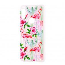 """Чехол для Xiaomi Redmi Note 6 Pro блестки вода светло-розовый """"фламинго и кактусы"""""""