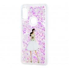 """Чехол для Xiaomi Redmi Note 6 Pro блестки вода светло-розовый """"девушка в белом плать"""""""