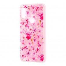"""Чехол для Xiaomi Redmi Note 6 Pro блестки вода розовый """"розовые цветы"""""""