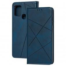 Чехол книжка Business Leather для Samsung Galaxy A21s (A217) синий