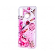 "Чехол для Huawei P20 Lite Блестки вода розовый ""косметика"""