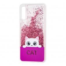 Чехол для Samsung Galaxy A70 (A705) Блестки вода кот розовый