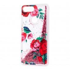 """Чехол для Xiaomi Mi 8 Lite Блестки вода красный """"красные розы"""""""