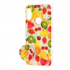 "Чехол для Xiaomi Redmi 6 Pro / Mi A2 Lite силикон + popsocket ""фрукты"""