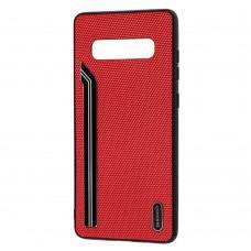 Чехол для Samsung Galaxy S10+ (G975) Shengo Textile красный