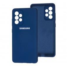Чехол для Samsung Galaxy A52 (A525) Lime silicon с микрофиброй синий (blue)