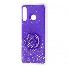 Чехол для Huawei P30 Lite Acrylic блестки + popsocket фиолетовый