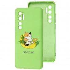 Чехол для Xiaomi Mi Note 10 Lite Wave Fancy freelance cat / mint gum