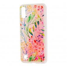 """Чехол для Samsung Galaxy A10 (A105) Блестки вода """"цветы и травы"""""""
