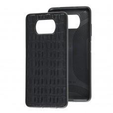 Чехол для Xiaomi Poco X3 Leather case кроко