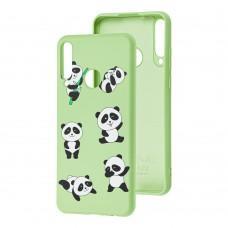 Чехол для Huawei Y6p Wave Fancy lovely panda / mint gum