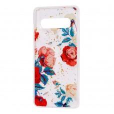 "Чехол для Samsung Galaxy S10+ (G975) Flowers Confetti ""роза"""